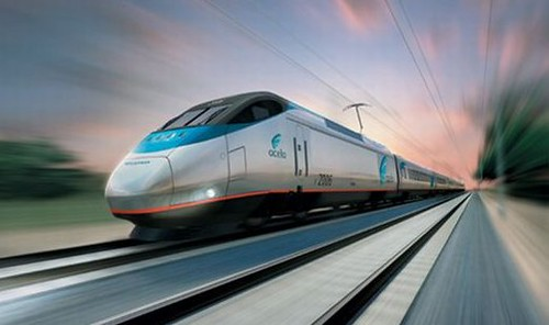 rendering of Amtrak's high-speed train (from EcoFriend)