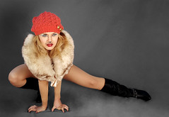 Raghouse International Fashion Campaign Cat in a Hat Spring 2011 (raghouseinternational) Tags: blue red woman black hat yellow coral vintage fur crochet gray cream makeup blond redlipstick collar leotard fishnetstockings blackcatsuit tiannaatwoodcatinahat