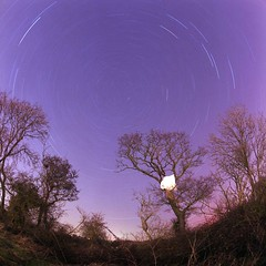 Fisheye Star Trail (RobSalmon) Tags: england colour 6x6 robert film night 35mm out square lens photography one star photo long exposure fuji yorkshire salmon trails ps rob east fisheye trail bronica fujifilm medium format mf 100 hull sq reala sqa