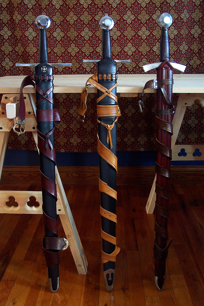 Thirteenth century style swords in scabbards