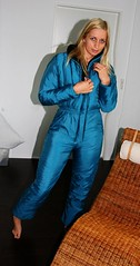 DeepBlue (onesieworld) Tags: blue snow ski sexy bunny one outfit model shiny retro suit 80s blondie piece nylon catsuit jumpsuit onesie overall
