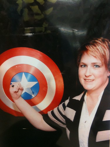 Kellie with the Captain America shield