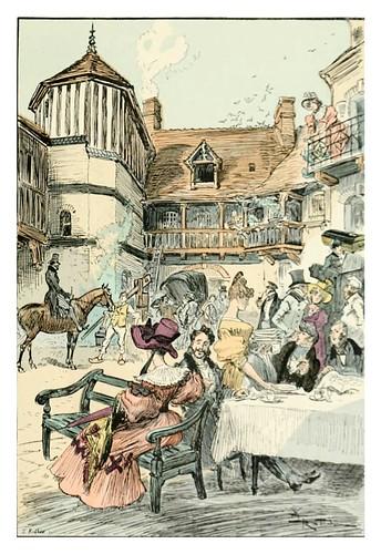 026-En el patio de un hostal-Le 19e siècle 1888- Albert Robida