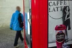 caffe latte (Toni_V) Tags: street leica blue red motion blur station 35mm advertising switzerland tessin ticino europe dof suisse f14 rangefinder sbb caffelatte svizzera lugano m9 selecta emmi 2011 summiluxm messsucher 110319 toniv leicam9 l1001042