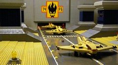 Sand Bats Launch from Thar Air Base, August 2040. [1/6] (Don Quixote 2x4!) Tags: lego mosaic runway diorama airbase starfighter thardesert sandbat