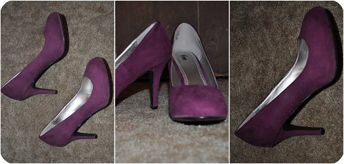 1 Pair : 2 Ways Purple Suede Heels