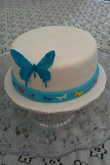 Blue butterfly (Xquisite cakes) Tags: pink blue white yellow cake butterfly yummy pretty purple teal delicious fondant whitecake sugarpaste shimmerdust