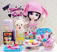 sweets for sale~ (Cyristine) Tags: bear pink cute rabbit bunny yellow cake ball yummy doll candy adorable polka kawaii belle sweets bjd dots rement dollhouse teddie rilakkuma jointed megahouse harang lati miniaturse