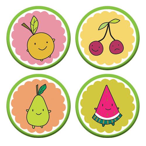 Cutie Fruity Friends badge set