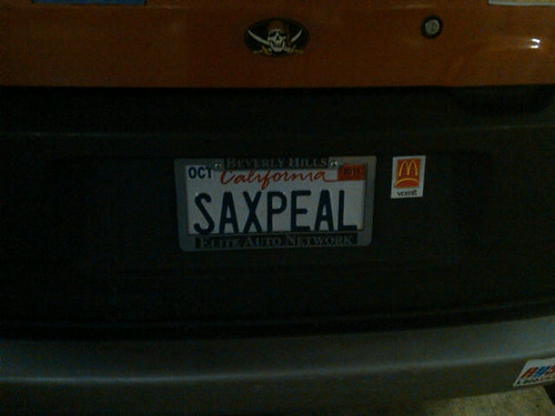 License Plate of the Day: Sax Appeal