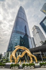 Guangzhou International Finance Center (West Tower) (kenneth alan lewis) Tags: guangzhou china plaza city sculpture building fountain skyline architecture skyscraper hotel office asia cityscape perspective wideangle finance internationalfinancecentre kennethalanlewisphotography