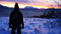 Astonished by the show (Greelow) Tags: greelow snow sea north moutain sunset sun neige montagne winter hiver beautifull nature natur wild man humanity astonished subjugu bahi flabbergasted dumbfounded tromso