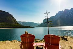 Lake Minnewanka - Red Chairs (Shane Kiely) Tags: banff canada lakeminnewanka tunnelmountain vermillionlakes