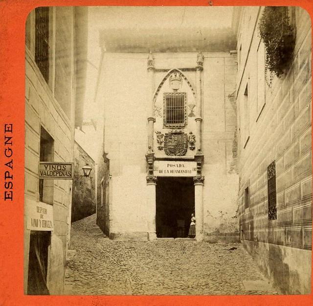 Posada de la Hermandad hacia 1880. Fotografía estereoscópica de Levy. Colección Luis Alba. Ayuntamiento de Toledo