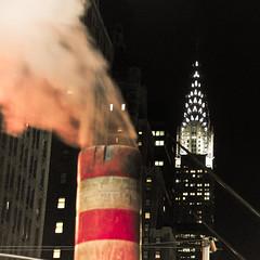 NYC (shaymurphy) Tags: new york city nyc sky usa night america buildings amrica nikon skyscrapers smoke steam chrysler amerika stad scraper  d300     lamerica lamrique