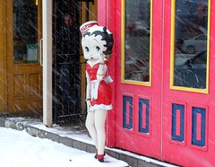 Betty Boop Enjoying The Spring Weather in Toronto (Still The Oldie) Tags: toronto ontario canada bettyboop thedanforth springtime blogto springsnowstorm torontoistcom nikoncoolpixp6000 torontolifecom