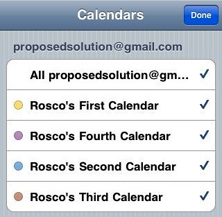 iPhone Showing Multiple Google Calendars