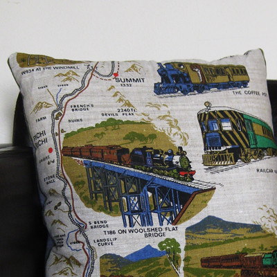Tea towel cushion by Erica