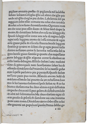 Possible ownership inscription in Diogenes Laertius [pseudo-]: Libro della vita dei filosofi e delle loro elegantissime sentenzie
