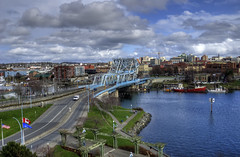 Big Blue (Brandon Godfrey) Tags: city urban canada water skyline clouds buildings boats harbor downtown cityscape bc view harbour britishcolumbia scenic scene victoria aerial oldtown songhees jsb johnsonstreetbridge