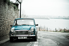 Mini (_Franck Michel_) Tags: blue winter sea mer cold car grey gris bokeh newyear voiture bleu froid dinard nouvelan hiber