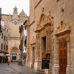 The gothic cathedral of Ciutadella (Bn) Tags: old city pink water rain architecture port geotagged lights islands harbor town spain alley topf50 downtown mediterranean market taxi centre gothic churches medieval historic tapas obelisk attractive raindrops quarter townhall restoration charming baroque heavy raining raincoat picturesque oldtown streaming menorca darkclouds alleys ciutadella minorca rainydays balearic oldquarter gutters rainyweather townwalls ciutadellademenorca whitewashedwalls 50faves narrowlanes sunafterrain formercapital theoldandthebeautiful aftertherainthesun theheartoftown geomenorca iglesiadelroser picturesquenaturalport esbornsquare theformercapital vellaibella aftertherainthesunshinesthenabright cathedralofciutadella lacatedralsantamaria geo:lon=3837931 geo:lat=40001274
