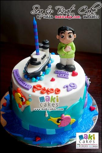 Sea & Boat Cake for Papa - Maki Cakes