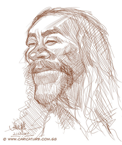 digital caricature sketch of Kitaro - 1