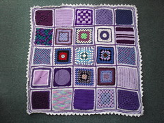SIBOL 61 'Purple Rain' - assembled and named by 'The Garden Bell' Kate! Fabulous job Kate!  'Please add note' if you see your Square! Thanks to everyone who contributed Squares for this Blanket!..........>