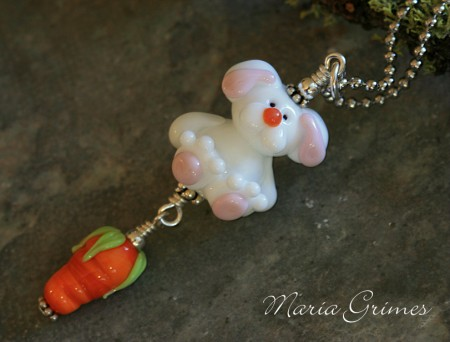 Bunny Hop Lampwork Necklace