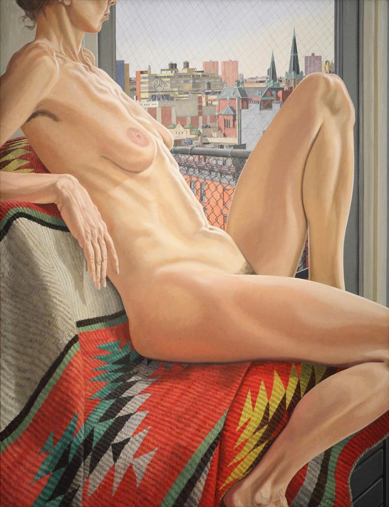 Philip Pearlstein, Nude, midtown view, Navajo rug, 1986