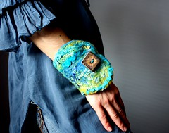 Textile cuff, Fiber Art Felt OOAK (VitalTemptation , Etsy) Tags: wool collage felted designer contemporary silk felt tribal fairy bracelet hippie fiber gypsy magical textured steampunk uniquebuttons springcollection2011 artcuff nunifelt