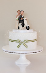 Vespa Wedding (Rouvelee's Creations) Tags: wedding dog cake groom bride vespa chocolate weddingcake polymerclay mudcake caketopper cairnterrier weddingcaketopper rouvelee