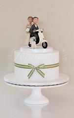 Vespa Wedding (Rouvelee's Creations) Tags: wedding dog cake groom bride vespa chocolate weddingcake polymerclay mudcake caketopper cairnterrier weddingcaketopper rouvelee
