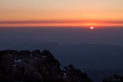 Eastern Sun (davidkoiter) Tags: light orange sun mountain rock sunrise canon eos dawn early nationalpark haze top f14 horizon peak 7d usm 50 southkorea jirisan