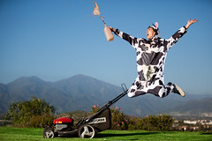Who Says Cows Can't Jump? (The Kristiano) Tags: blue green grass cow milk skies chocolate lawn wife mower 580exii canoneos5dmarkii