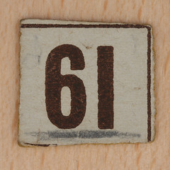 Cardboard Bingo number 61 (Leo Reynolds) Tags: canon eos iso100 number lotto 60mm f80 bingo loto 61 housie housey 0125sec 40d hpexif numberset numberbingo houseyhousey xsquarex housiehousie bingoset15 xleol30x