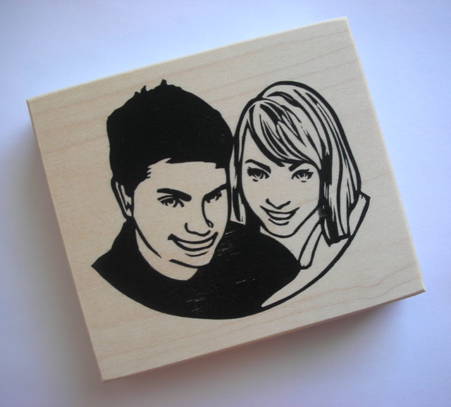Couple portrait stamp