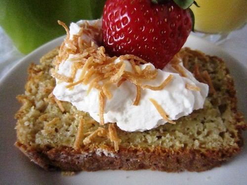 Slice of bread with cream and strawberry, take two