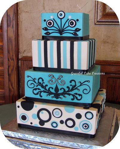 Aqua Blue Black and White Retro Wedding Cake