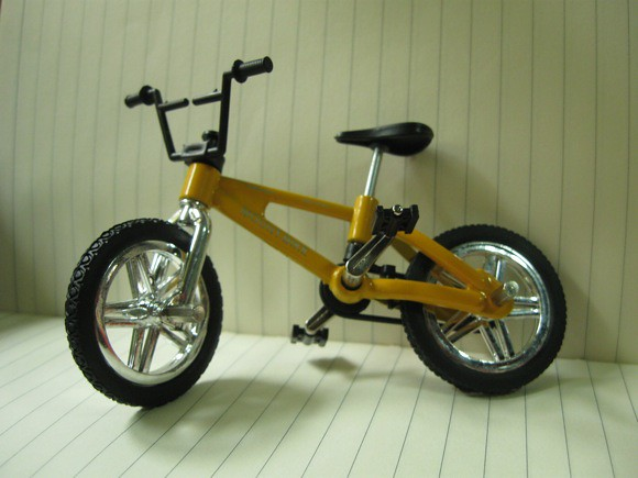 yellow BMX fingerbike