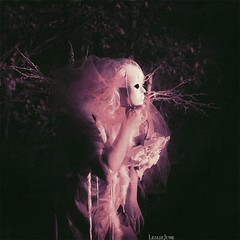 Those who follow (leslie.june) Tags: pink june forest hair square photography woods veil mask native spirit ghost feathers surreal dry follow spooky textures hues squareformat leslie demon tones