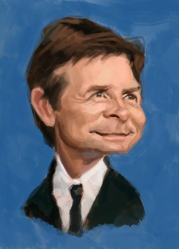digital caricature of Michael J Fox - 2