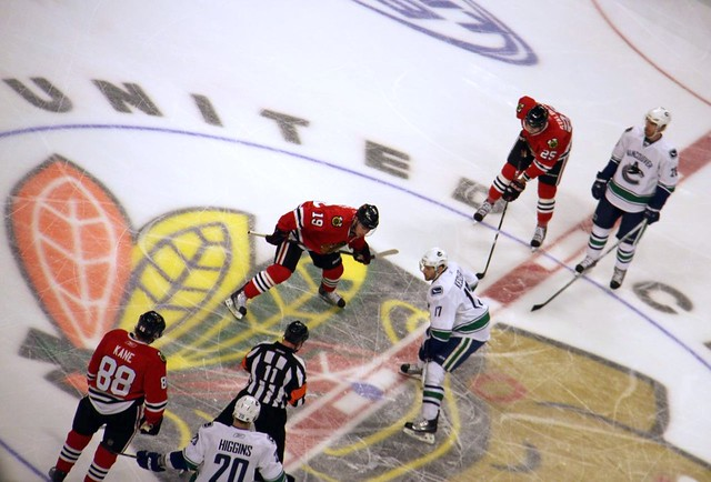 Chicago Blackhawks face off vs Vancouver Canucks in game 6, June 2011