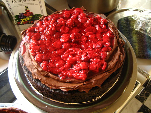 Down-home Mayonnaise Chocolate Cake with Sour Cream Ganache and Raspberries