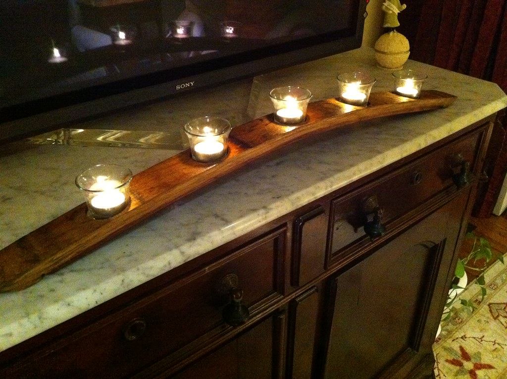 let there be light wine barrel turned candle holder old town home arched napa valley wine barrel