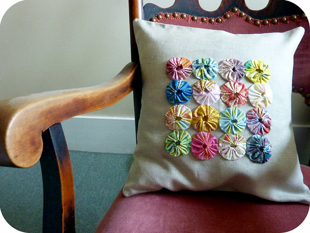 Yo-Yo Rosette Pillow