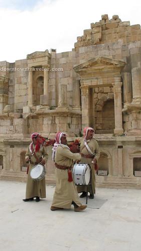 Musicians at Gerasa in Jerash Jordan