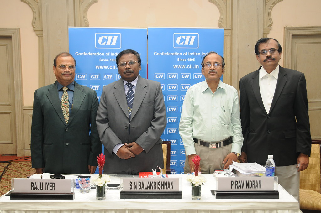 Mr P Raju Iyer, Convenor, CII Online Taxation Advisory Services; Mr S N Balakrishnan IRS, Commissioner of Central Excise,Mr Ravindran, Advocate & Consultant, Indirect Taxation at at the Workshop on Se