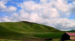 Coastal hills (smacss) Tags: california county blue red sky green clouds barn central hills kern